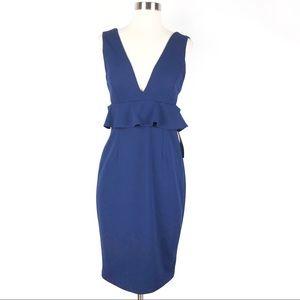 New AIDAN MATTOX Scuba Crepe Peplum Dress 8 blue